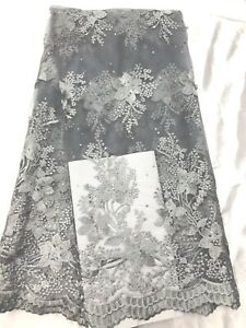 New Designs African Lace Fabric Embroidered Net  Dress Wedding Evening 5 Yards