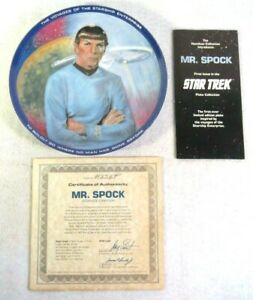 Mr. Spock Nimoy Star Trek Collector Plate Susie Morton Limited Edition Box COA
