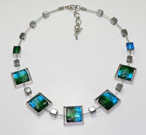 Halskette Kette Glas Murano Art Metallrahmen türkis blau hellblau grün  283R