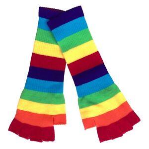 LGBT Gay Lesbian Punk Emo 70s 80s 90s Rainbow Pride Arm Warmer Fingerless Gloves