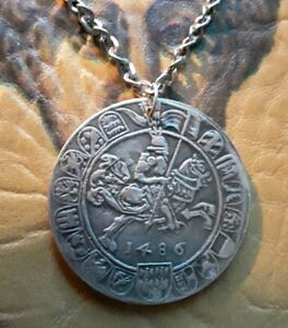 Medieval-Heraldry-Knight-Horse-King-PENDANT-NECKLACE-big-coin-talisman