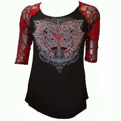 Harley Davidson HD Womens Bling American Dream Black & Red Lace Back Shirt Top