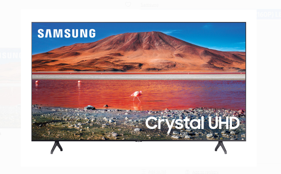 """SAMSUNG 75"""" Class 4K Crystal UHD (2160P) LED Smart TV with HDR UN75TU7000 2020. Available Now for 700.00"""