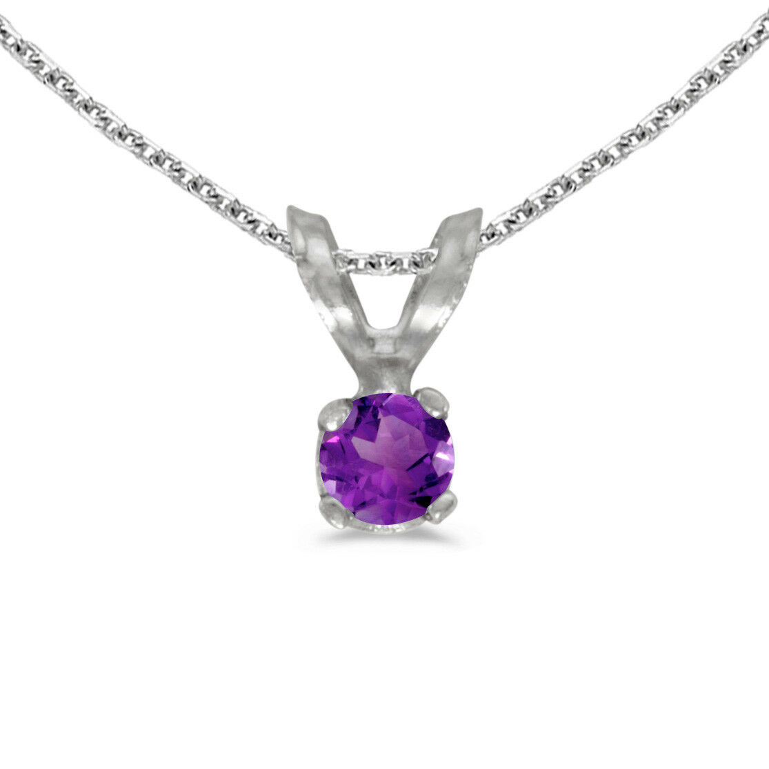 10k White gold Round Amethyst Pendant with 16  Chain