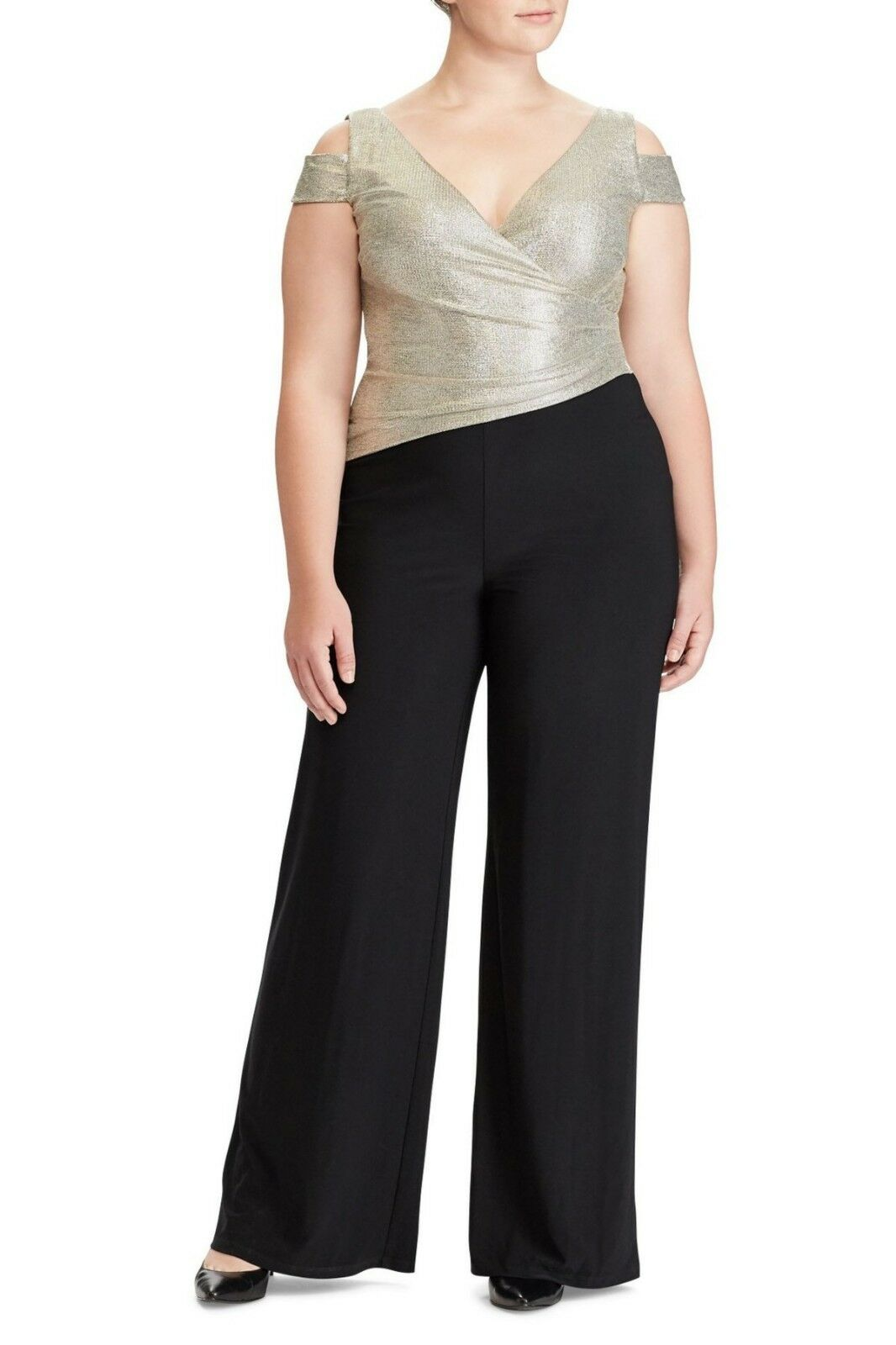 Lauren Ralph Lauren Metallic Cold Shoulder Jumpsuit, 18W, Retail ,  JE1006