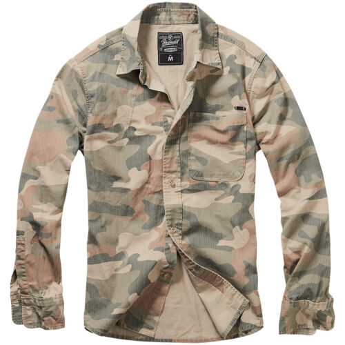 Brandit Josh Shirt Long Sleeve Casual Military Army Duty Top Light Woodland Camo