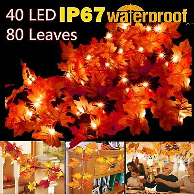 14.7ft 40 LED 80 Leaves String Lights Party Fairy Lights Thanksgiving Xmas Decor