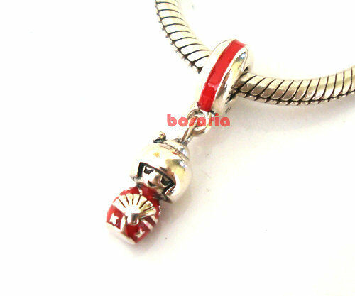 925 Sterling Silver Japanese Doll Red Enamel Fit European Charm Bracelet