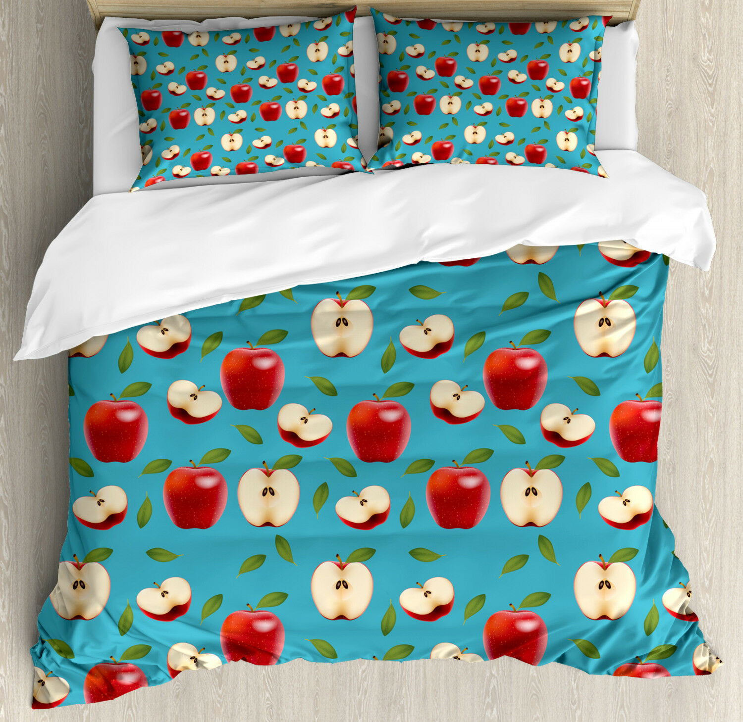 Apple Duvet Cover Set with Pillow Shams rosso Delicious Healty Food Print