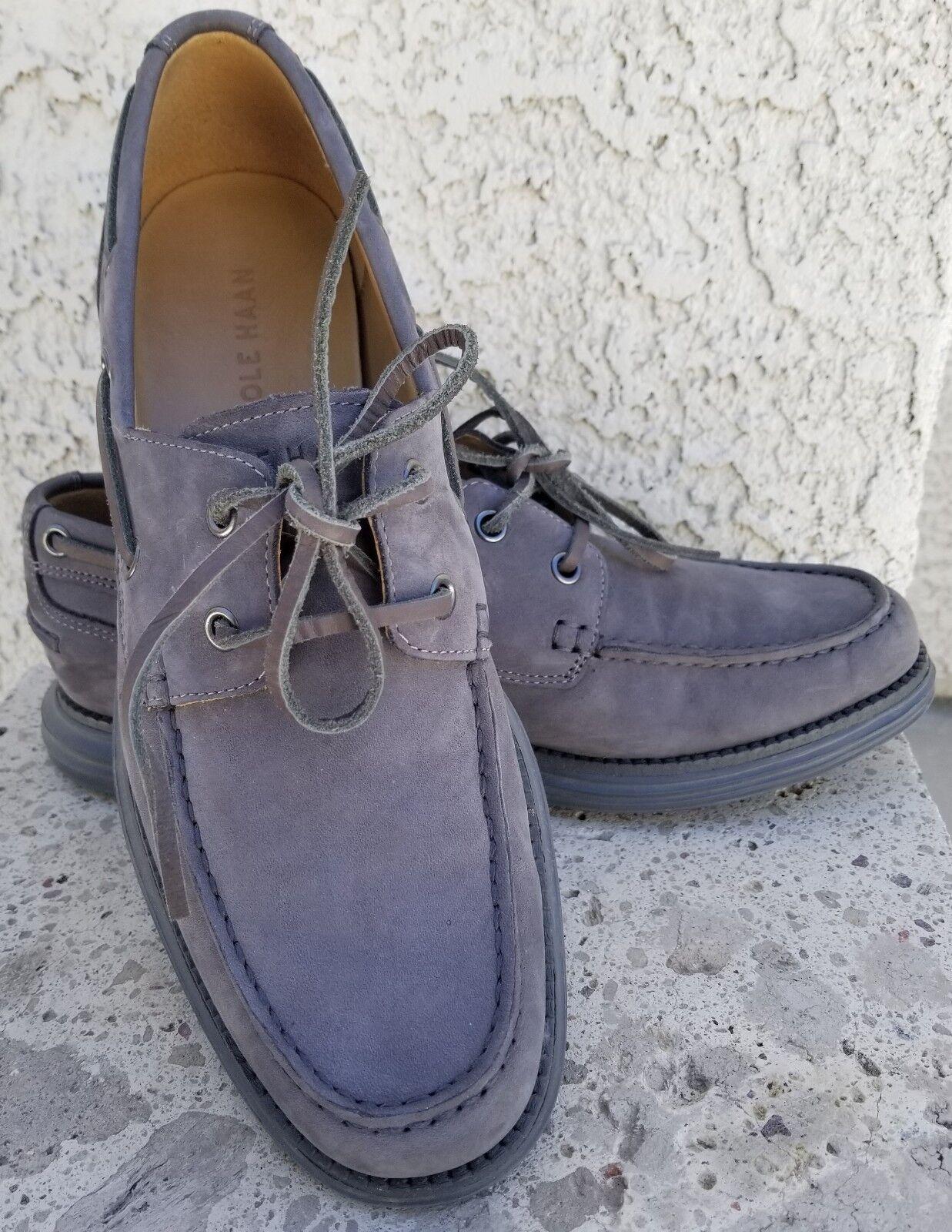 Scarpe casual da uomo Cole Haan uomos Lunargrand Boat Shoe Moc-Toe Lace-Up Casual gray suede Size 8 M