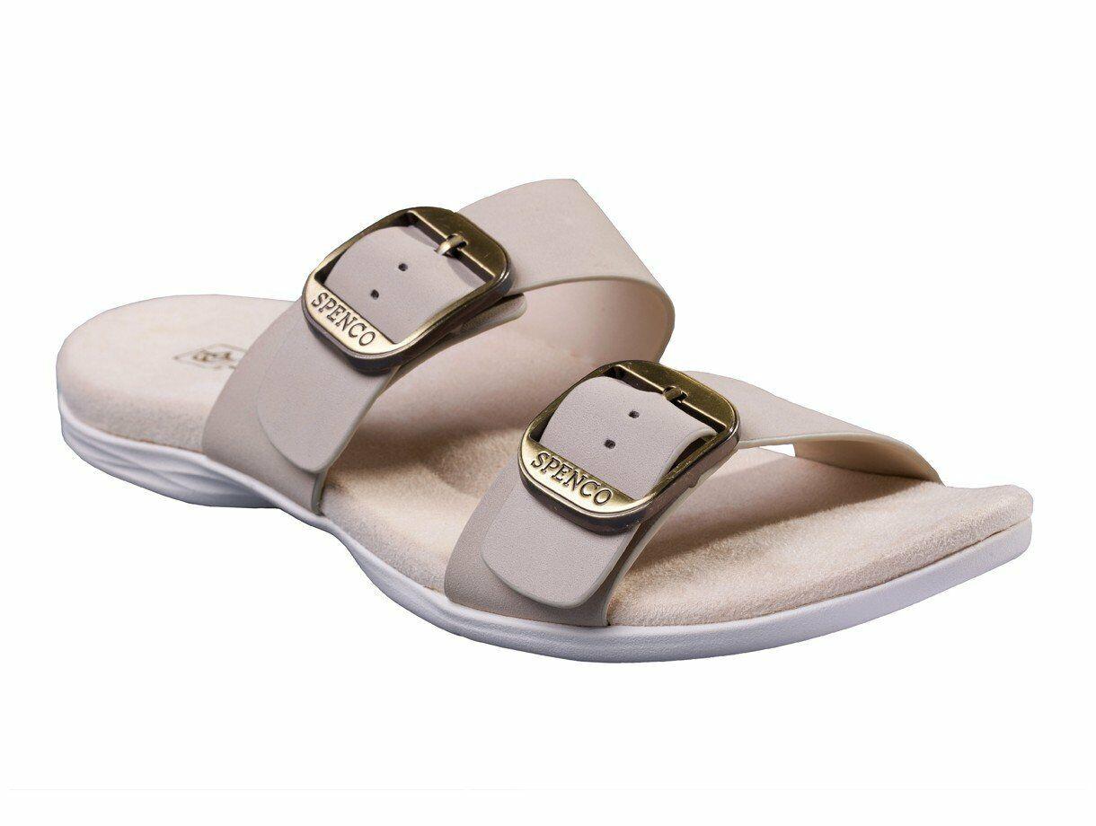 Spenco Vista Slide Women's Leather Arch Support Sandal Grey Morn - 7.5 Wide