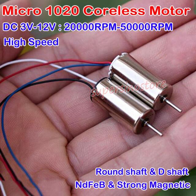 2PCS 7*20mm Mini Coreless HM Motor DC 3.7V 55000RPM High Speed Drone Quadcopter
