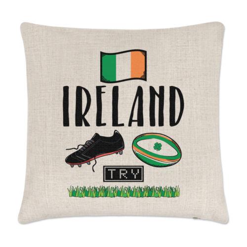 Rugby Irlande Lin Housse de Coussin Oreiller-Drôle Ligue Union shamrock flag