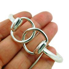Large Horsebit 925 Sterling Silver Horse Snaffle Bracelet Cuff