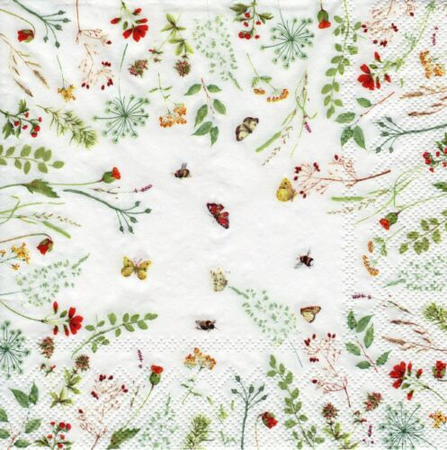4x PAPER NAPKINS for Decoupage LIGHT FLOWERS Floral Butterflies