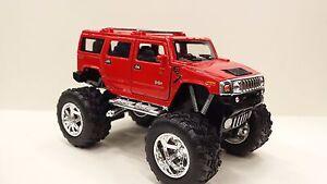 2008-HUMMER-H2-SUV-fuori-strada-ROSSO-KINSMART-modello-giocattolo-1-40-Scala