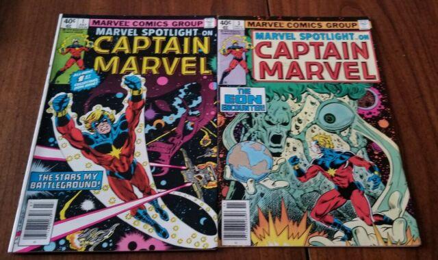 Marvel Spotlight Captain Marvel #1 & 3 *nice condition*