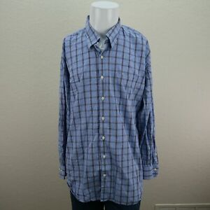 Peter-Millar-Blue-Brown-Long-Sleeve-Button-Front-Check-Casual-Shirt-Mens-XL