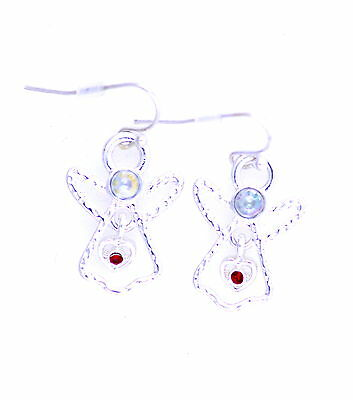 Christmas gear silver tone angel dangle earrings with crystal X'mas gift