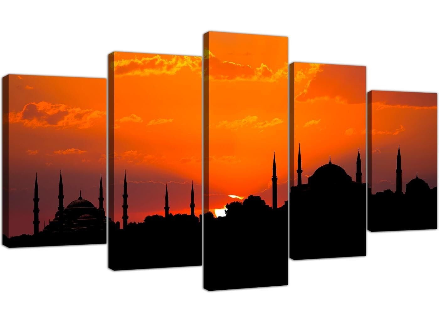 Extra Large Blue Mosque Istanbul Sunset-islamique Orange Sunset-islamique Istanbul 5 Set Toile 496ebd