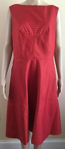 ISAAC-MIZRAHI-For-Target-Size-12-SLEEVELESS-STRIPE-Red-DRESS-lined