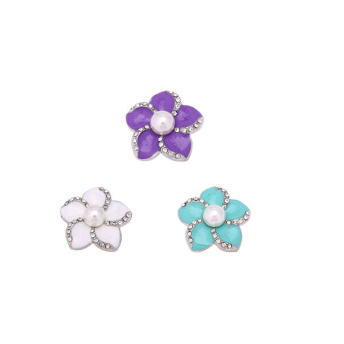 Flower Shaped Epoxy Rhinestone Pearl Snaps Fit 18mm Buttons