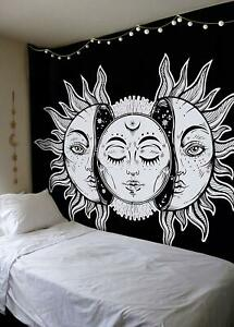 Home, Furniture & DIY Wall Hangings Celestial Indian Sun Moon Black Tapestry Stars Bedspread Twin Art Wall Hanging