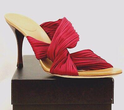 GUCCI High Heel Slide PLISSE Stretch Flower Red/Pink Satin Sandals sz 10