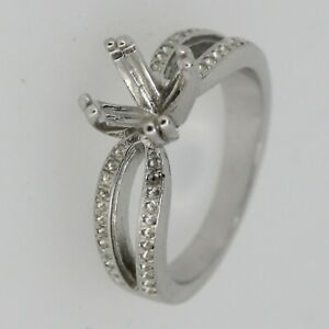 Sterling Silver Semi Mount Ring Setting Round RD 7x7mm Size 7 W// White Topaz