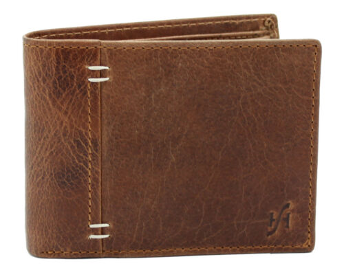 Starhide RFID BLOCKING Distressed Leather Wallet Purse With Gift Box #1050 Brown
