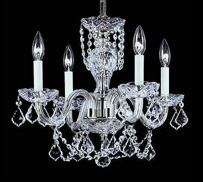 CHANDELIER MINI  PETITE 4 LIGHT 29 FRENCH CUT CRYSTALS CHROME or GOLD