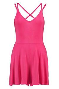 7854261476 Boohoo Katie Strappy Back Swing Playsuit Pink Size UK 8 DH088 QQ 24 ...