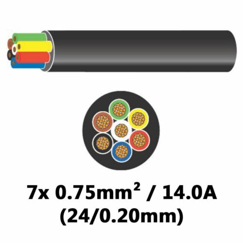 DBG 7 Core 7x 14A 0.75mm² 24//0.20mm BLACK Cable 30M Thin Wall Automotive