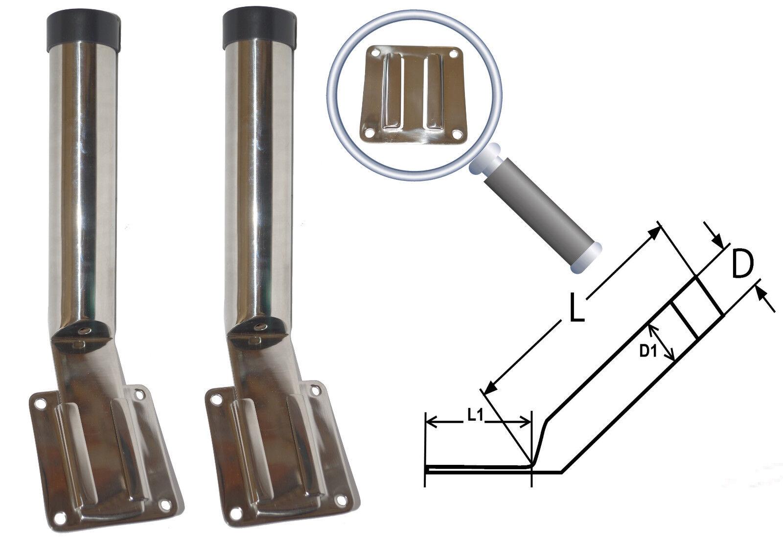 Porte Canne inox Amovible avec Plaque ( Lot de 2 ) inox 304 - A2 Pèche
