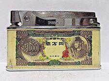 Vintage Prince Lighter, 10,000 Yen Bill, Enamel Finish, Working Condition, Japan