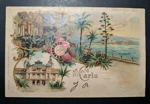 Mint-Vintage-Le-Casino-Monte-Carlo-H-T-L-Illustrated-Postcard