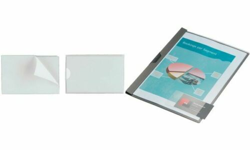 10x DURABLE Selbstklebetasche mit blanko Einsteckschild 150 x 60 mm transparent