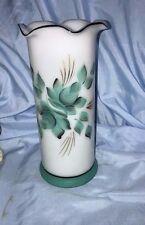 White Milk Glass Cylinder Vase Ruffled Edge Hand Painted Green Flowers