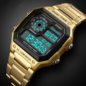 Mens-Digital-Quartz-Wrist-Watch-Sport-Army-Waterproof-LED-Gold-Stainless-Steel