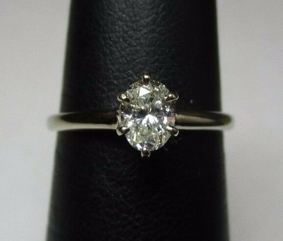 (MA5) 0.30 TCW Solitaire Oval Diamond 2.3g 14k White gold Ring Size Sz 6.75