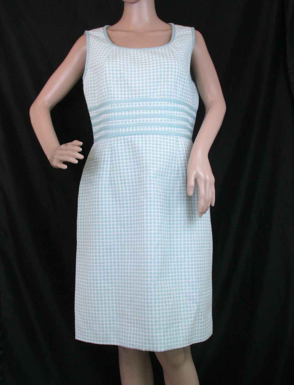 1c4d167c63a Antonio Melani 8 Aqua Polka Dots Sheath Dress Sleeveless Lined Career  Classic