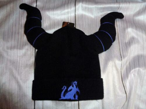 NWT MALEFICENT HORNED WATCHMAN BEANIE~PURPLE EMBROIDERED DRAGON~PADDED HORNS