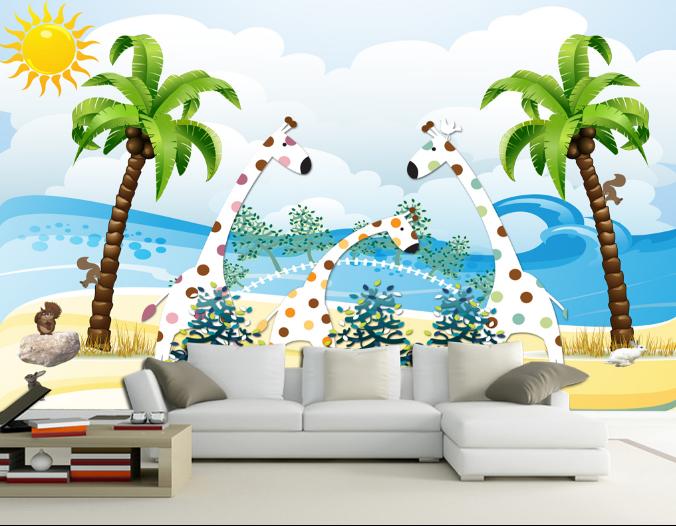 3D 3D 3D Giraffe Strand Baum 732 Tapete Wandgemälde Tapete Tapeten Bild Familie DE | Meistverkaufte weltweit  | Marke  |  265cfe
