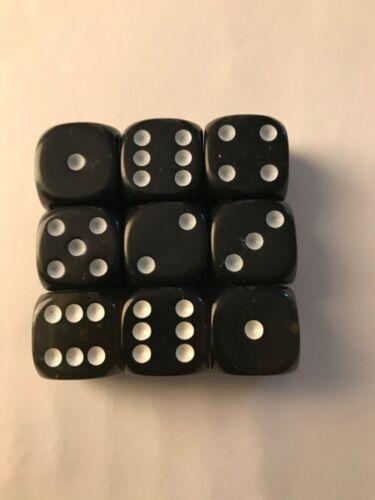 9 Würfel Dice Schwarz Black 16mm neu w6 d6 Tabletop Zubehör