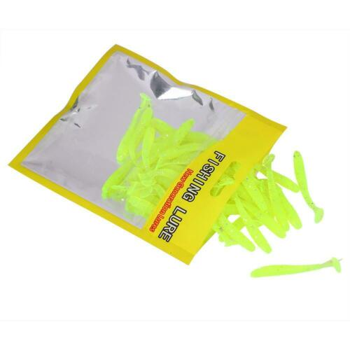 50pcs Soft Bait Fishing Lures 9color Jig Small Hook Worm Bass 5CM 0.6G
