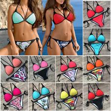 Womens Push-up Mesh Bandage Bikini Set Swimsuit Triangle Swimwear Bathing Suit