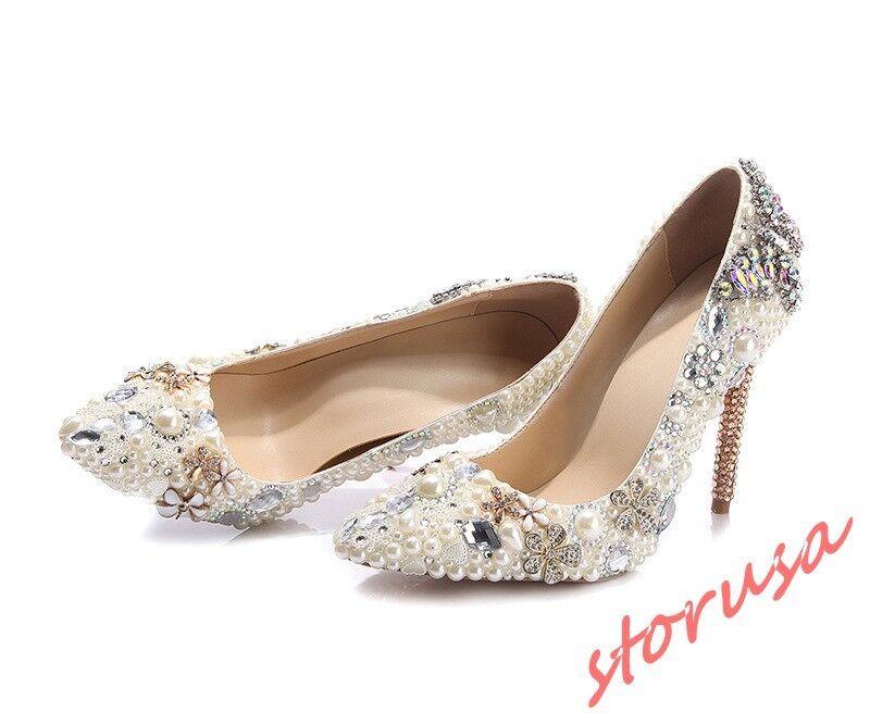 Womens Leather Pointy Toe Rhinestone Rhinestone Rhinestone Pearls Floral Bridal Wedding Dress shoes Sz af8d55