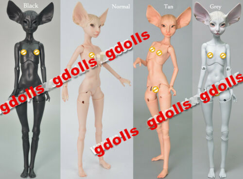 Face Up Gray or Tan Skin 1//4 BJD fantasy Doll sphynx cat Free eyes