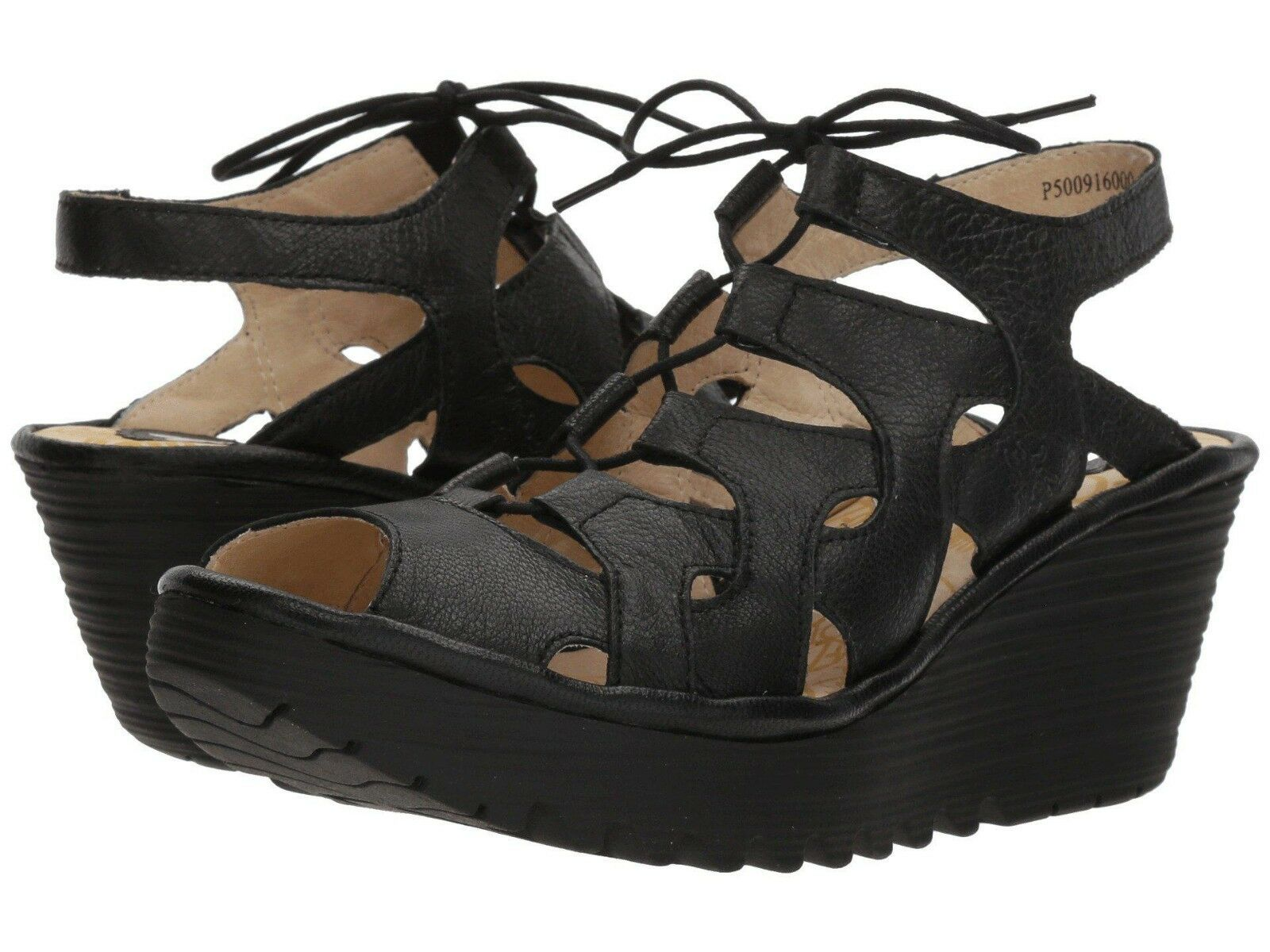 FLY LONDON Donna YEXA916FLY, WALKING COMFY PLATFORM WEDGE, LACE SANDAL