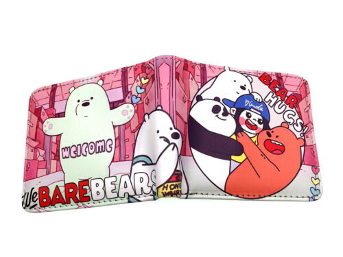 We Bare Bears Mens Leather pu Wallet Credit Card Holder Purse Cartoon Kid Wallet